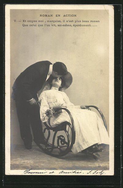 alte AK Mann küsst Frau in Schaukelstuhl 1904