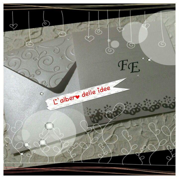 Partecipazione in carta perlata bianca con Busta quadrata