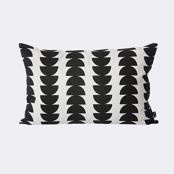 Beautiful Fabric Patten In Pillows Design : Wonderful Cushion Among Black Semicircles Also White Color As Minimalist Sitting Space Under House