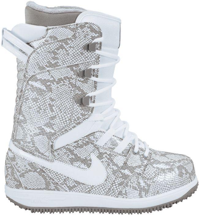 Nike Girls Vapen white python print snowboard boots