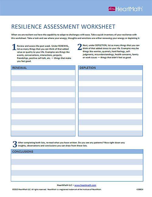 Resilience Assessment Worksheet Self Care Love