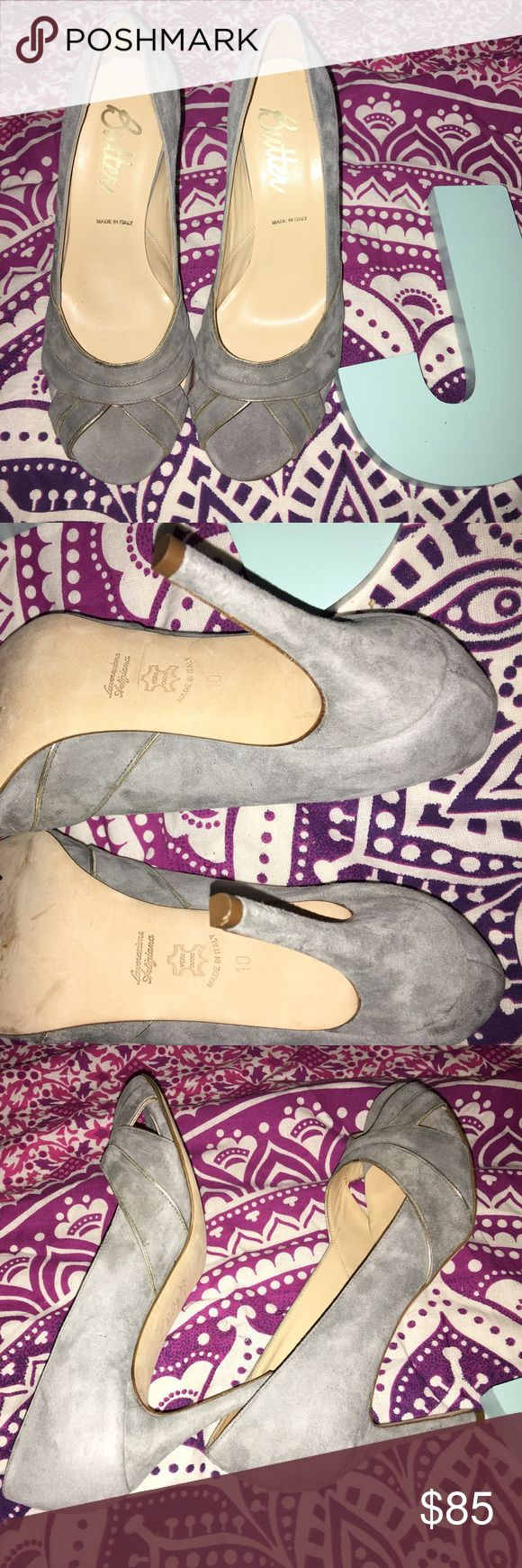 Gray and Gold Suede Butter Heels Made in Italy Butter brand shoes. Made in Italy. Size 10. Gray with gold piping on the front of the heels. Suede material. Soles show very little signs of wear. Like new condition on the interior and exterior. Butter Shoes Shoes Heels