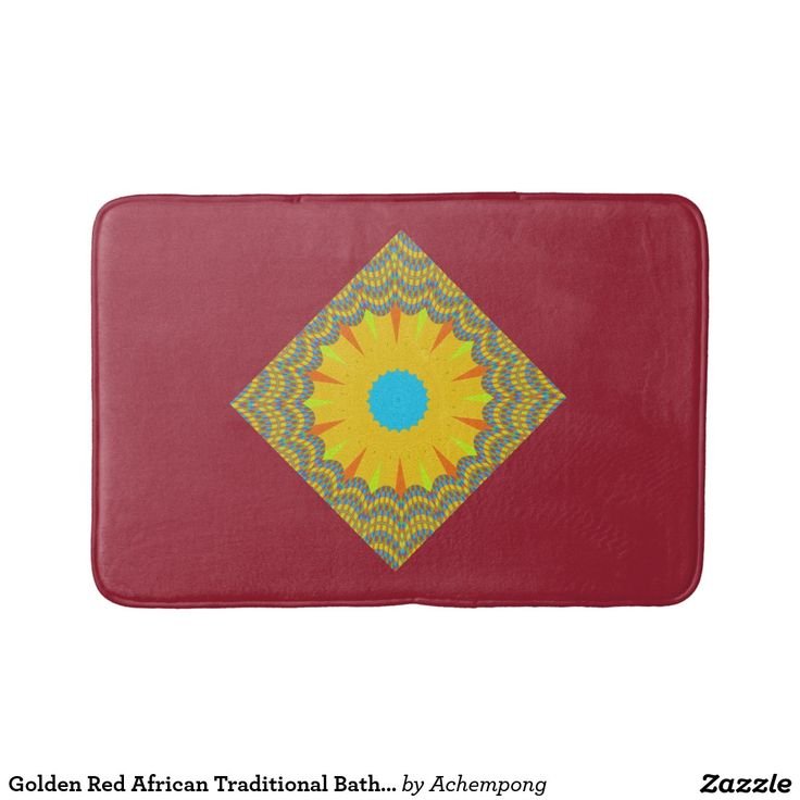 Golden Red African Traditional Bath Mats  #beautiful Fantastic Feminine Design Gifts - Shirts, Posters, Art, & more Gift Ideas