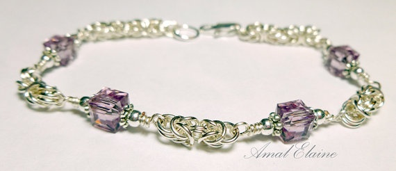 Sterling Silver Byzantine with Pink Swarovski crystals