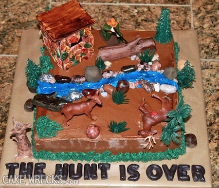 love cake wrecks and I didn't know about hunting themed cakes that are Grooms cakes?