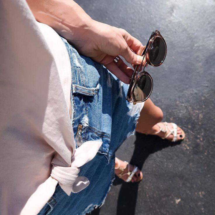 Denim mini skirt, pink cropped tee @thelustlife_