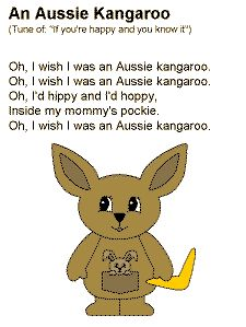 A Aussie Kangaroo Song - Copy onto poster board and sing with beginning readers