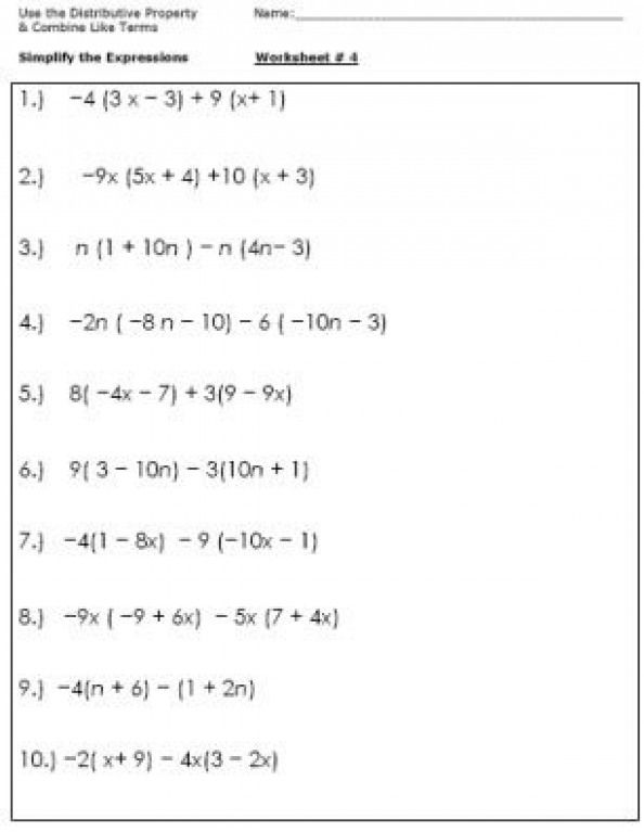 Pin By Kellie On Algebra Geometry Algebra Worksheets Combining Like Terms Simplifying Expressions