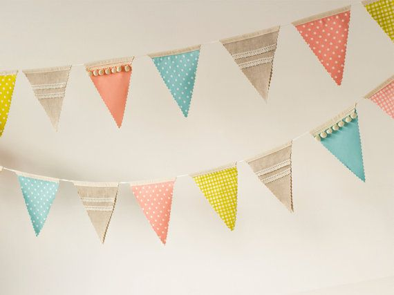 Fabric Bunting Banner, Flags, Pennants, Wedding, Baby Shower, Birthday Party, Office decoration, Nursery Gift