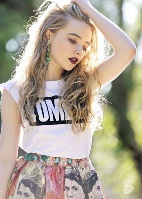 Make up hair green red pink black white orange skirt shirt
