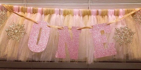 Frozen Gold and light pink High Chair Tutu by LilLadybugCreation