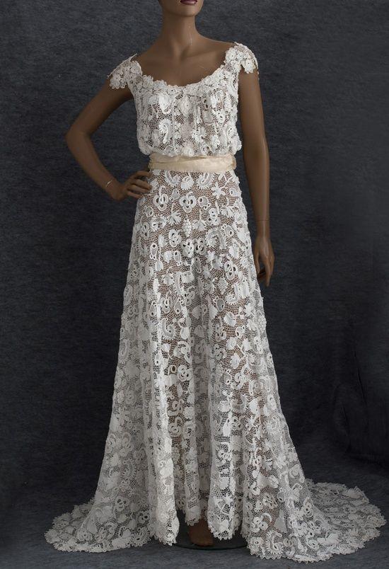 Glorious Edwardian Irish lace wedding dress