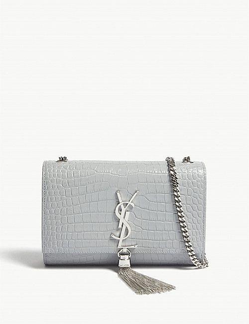 c002ed65b SAINT LAURENT Kate small tassel croc-embossed leather shoulder bag ...