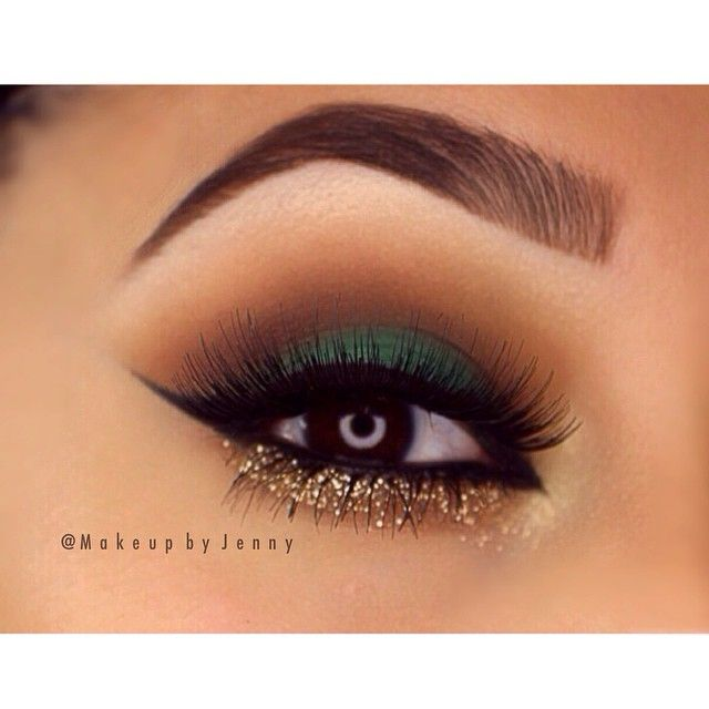 I like the combination of green , brown and gold for hazel and brown eyes I think this is gorgeous but I would tone it down just a bit for my taste. Perhaps the look I want to try for our holiday party??