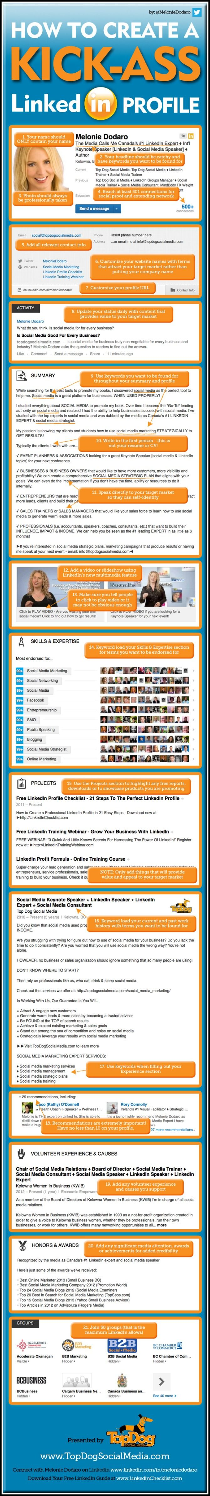 Learn how to create an amazing LinkedIn profile. This infographic http://90dayentrepreneur.com/create-an-amazing-linkedin-profile-infographic/ covers everything!