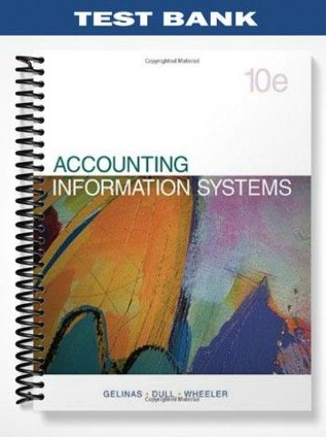 Test Bank Accounting Information Systems 10th Edition Gelinas  at https://fratstock.eu/Test-Bank-Accounting-Information-Systems-10th-Edition-Gelinas