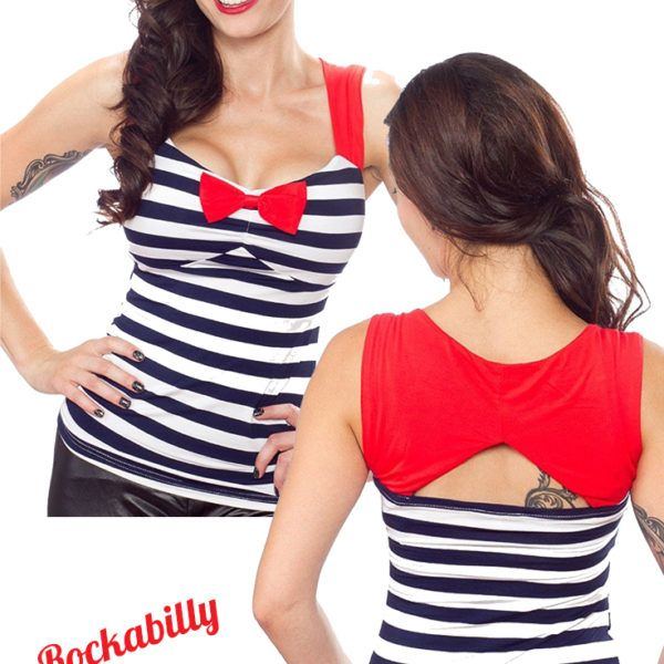 Sourpuss Sweetheart Stripe Top Rockabilly Shirt. Sourpuss will have you lookin' sweet in stripes! The red & white striped Sweetheart Top features curve hugging fit, decorative bow & cutout back.