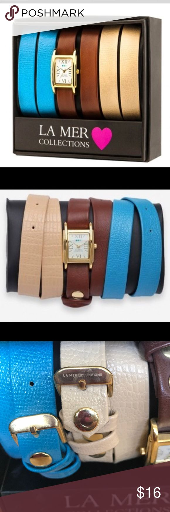 La Mer Collection watch - brown tan blue bands La Mer watch Collection watch special edition 600  DETAILS A chic, gold tone, timepiece for women from La Mer Special Edition Simple Wrap collection is crafted for high-class elegance.  Brand new in a box and needs batteries   💕 La Mer Accessories Watches