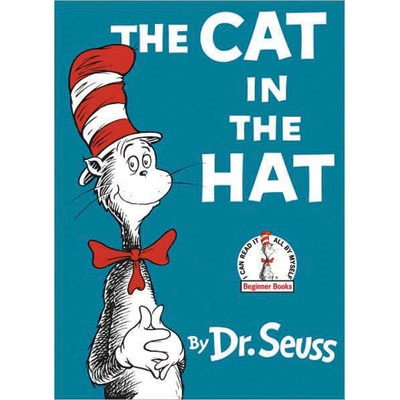 The Cat in the Hat  The Cat in the Hat is a children's book by Dr. Seuss, featuring a tall, anthropomorphic, mischievous cat, wearing a tall, red and white-striped hat and a bow tie. He also carries an umbrella. With the series of Beginner Books that The Cat inaugurated, Seuss promoted both his name and the cause of elementary literacy in the United States.