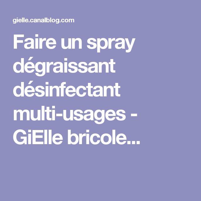 Faire un spray dégraissant désinfectant multi-usages - GiElle bricole...