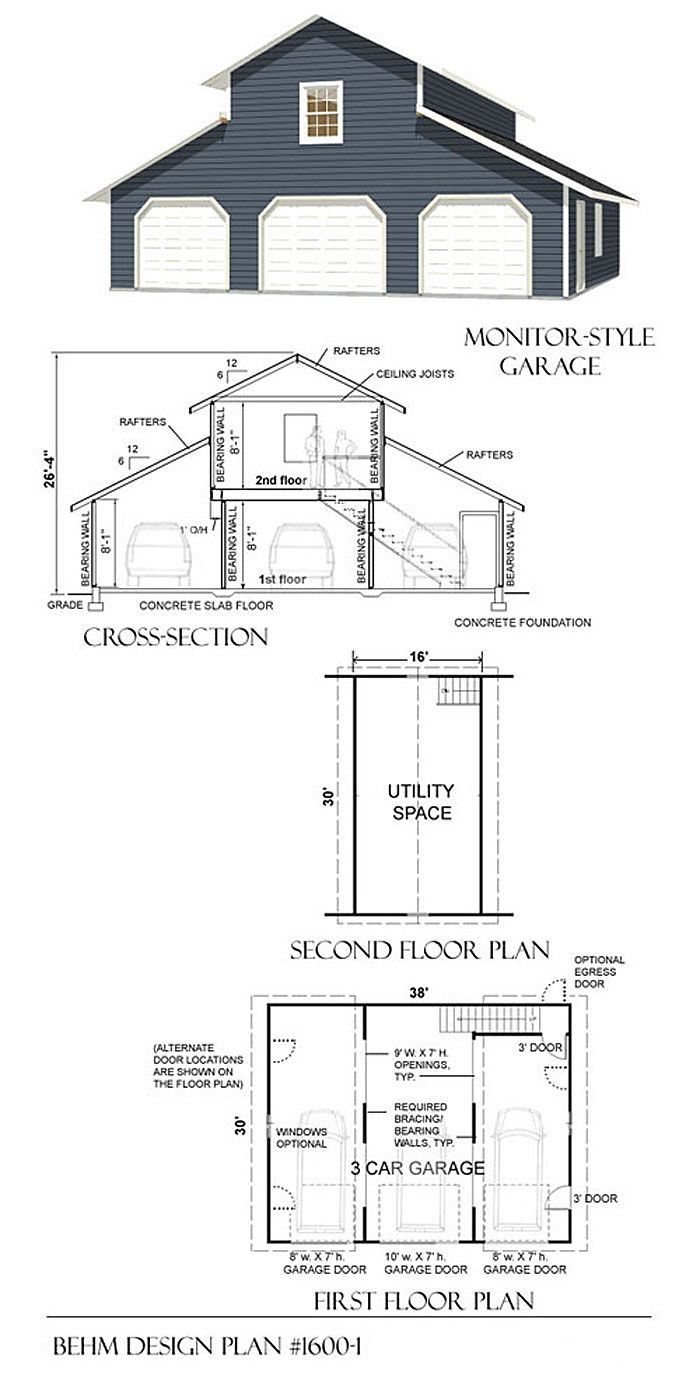 77 best 3 car garage plans images on pinterest garage for Loft barn plans