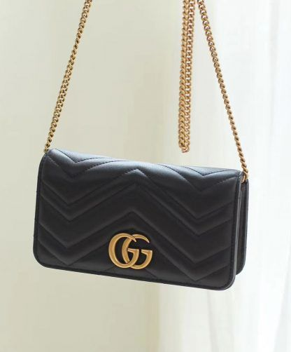 a47b6276acc Replica Gucci Marmont GG Mini Quilted Black Leather Cross Body Bag 488426  Black  6963 2