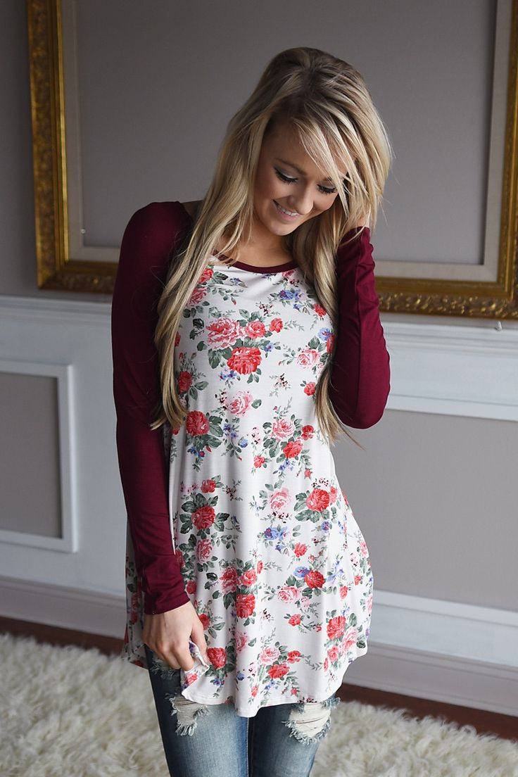 Blooming Love Top ~ Burgundy – The Pulse Boutique
