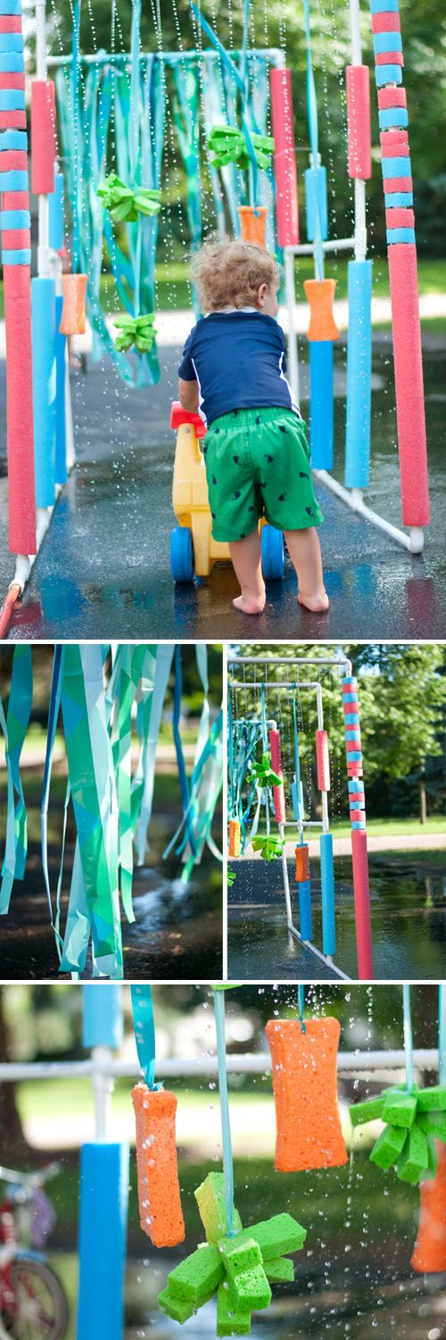 DIY: The BEST Tricycle Carwash. For less than 50 bucks and 30 mins to put together. Follow these easy plans and have the coolest summer ever!     Design Mom