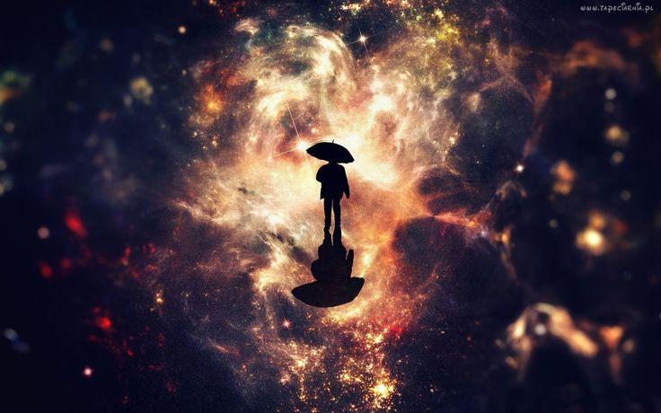 Fantasy, Kosmos, Galaktyki, Mężczyzna, Parasol, Odbicie