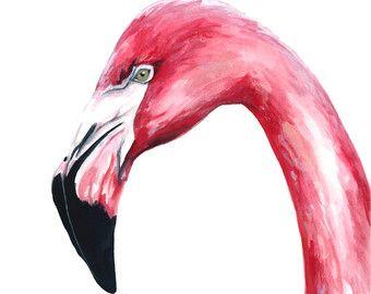 Two Flamingos Original watercolor painting 16 x 12 in