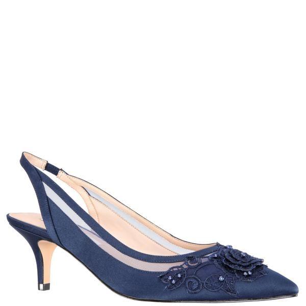 Taela New Navy Satin Kitten Heel Shoes Slingback Dress Sandals