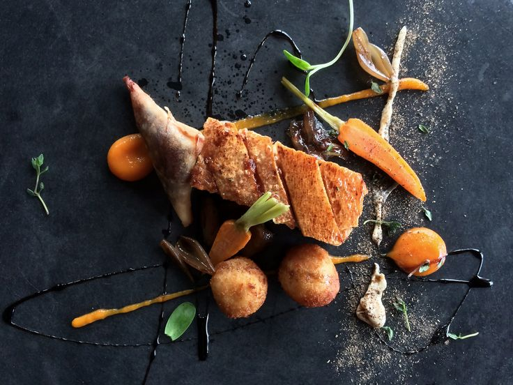 Cider Braised Pork Belly, potato croquettes, carrot puree, baby carrots & mustard apple sauce.