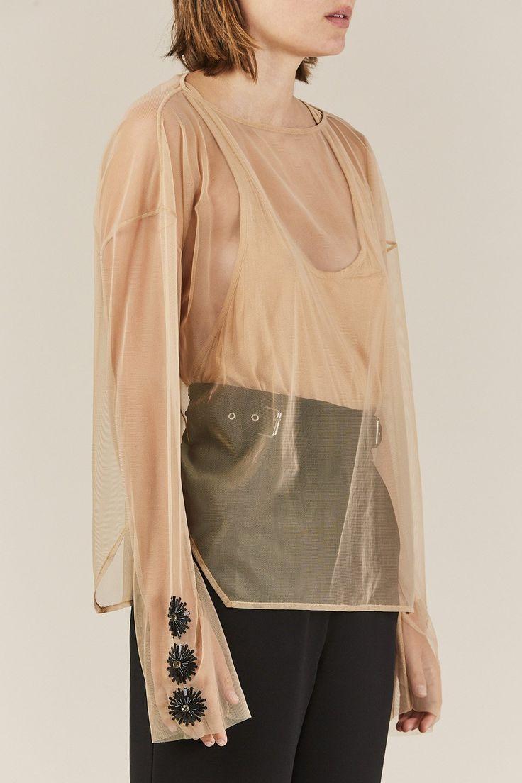 Rachel Comey - Embroidered Barter Top, Beige/Black
