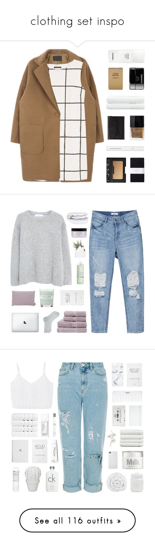 """""""clothing set inspo"""" by c-ityscape ❤ liked on Polyvore featuring MANGO, NARS Cosmetics, Toast, John Lewis, Butter London, Linum Home Textiles, Chanel, Christy, A.P.C. and Fekkai"""
