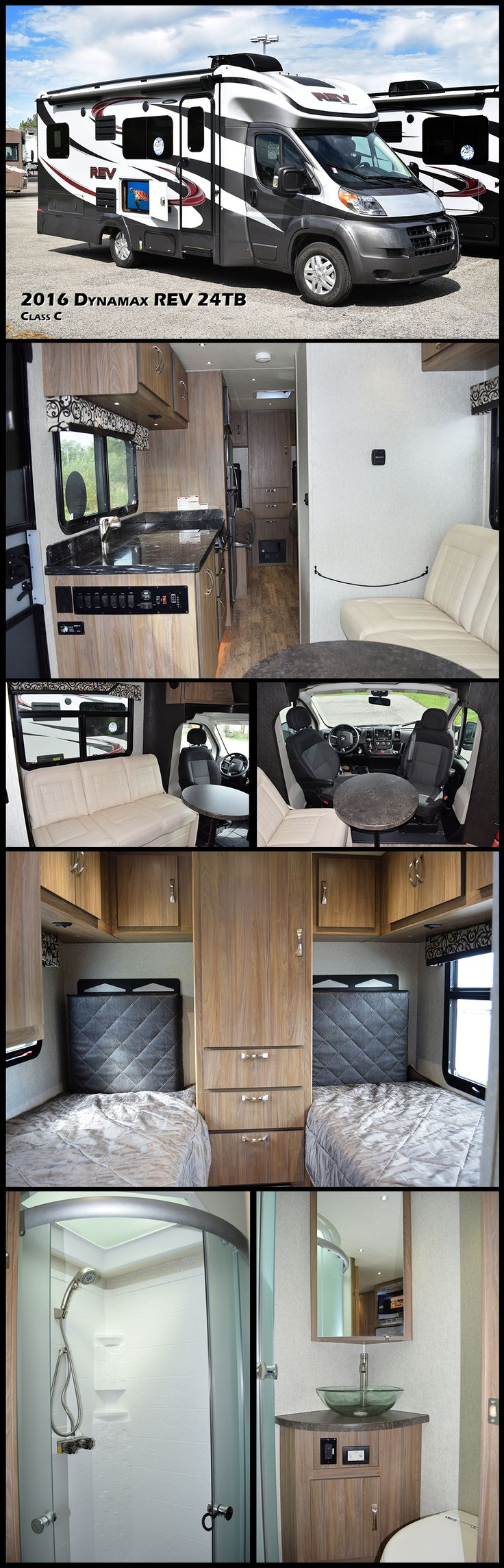 The 2016 DYNAMAX REV 24TB is a do more, carry more, enjoy more Class C motorhome. Imagine everything you love about your SUV and now add a place to relax, to cook and to sleep. This model contains a private bathroom with a shower, sink and a toilet. Cooking is made easy with a fully stocked kitchen that contains a stove, microwave, refrigerator and a double sink. In the rear you will find a pair of beds and so much more.