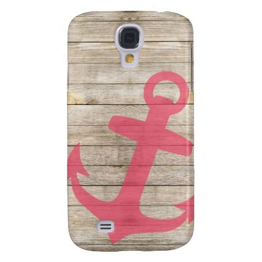 Girly Nautical Pink Anchor and Wood Look Samsung Galaxy S4 Cases $44.95
