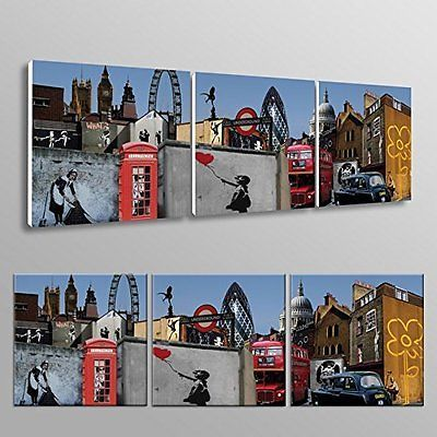 #Banksy #canvas #print collage triptych london #canvas art cheap #print home,  View more on the LINK: http://www.zeppy.io/product/gb/2/172434962111/