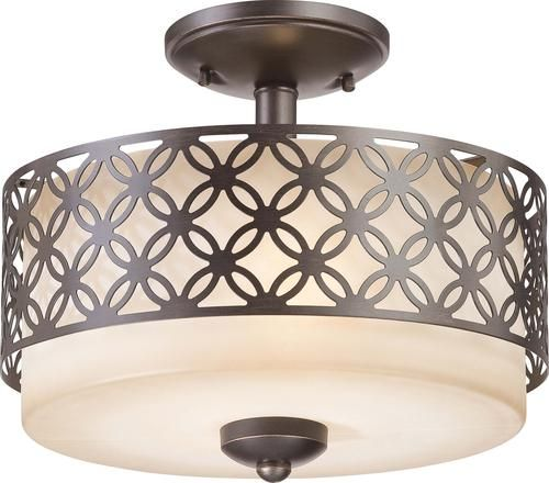 Kitchen Ceiling Lights Menards: Photon 2-Light 10'' Patina Bronze Incandescent Semi Flush