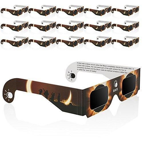Solar Eclipse Glasses 16-Pack Sun Viewing Sunglasses Shades Safety Eye Protection CE & ISO Certified Viewer Filter Blocks Total Eclipses UV Rays Infra-Red White Spectrum Light