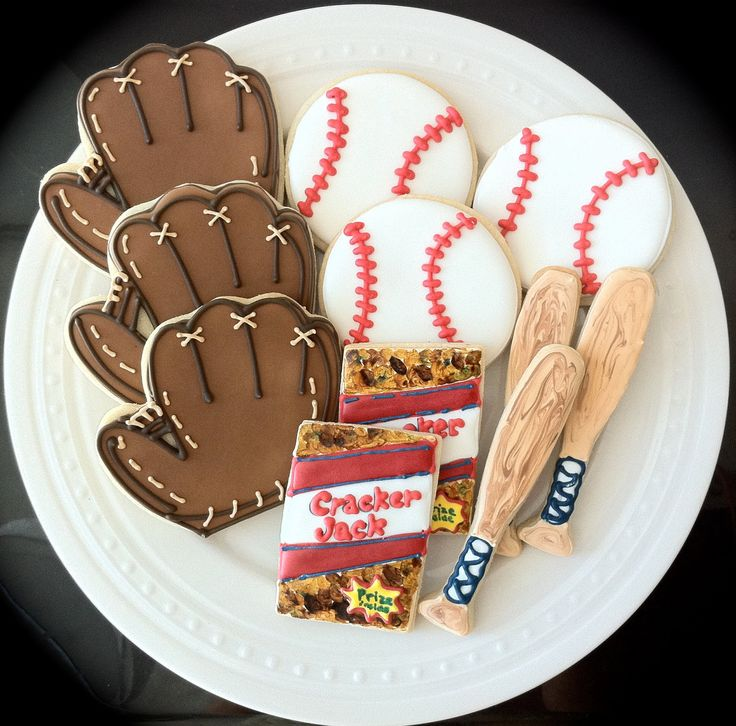 Baseball themed Decorated Cookies- bats, balls, gloves, and cracker jacks