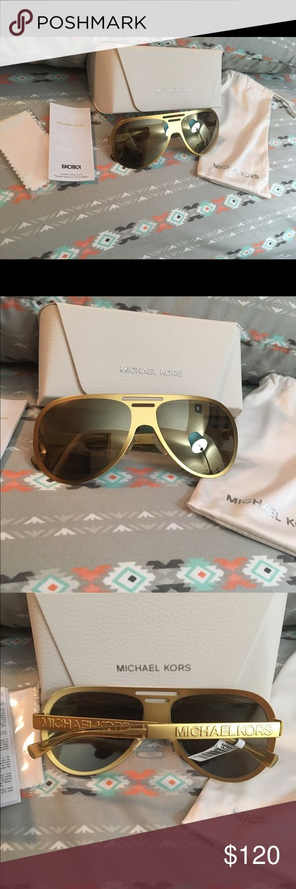 Brand new Michael Kors gold aviator sunglasses Brand New with tag, Michael Kors gold aviator sunglasses. Come with hard and soft case, pamphlet and cleaning cloth. Michael Kors Accessories Sunglasses