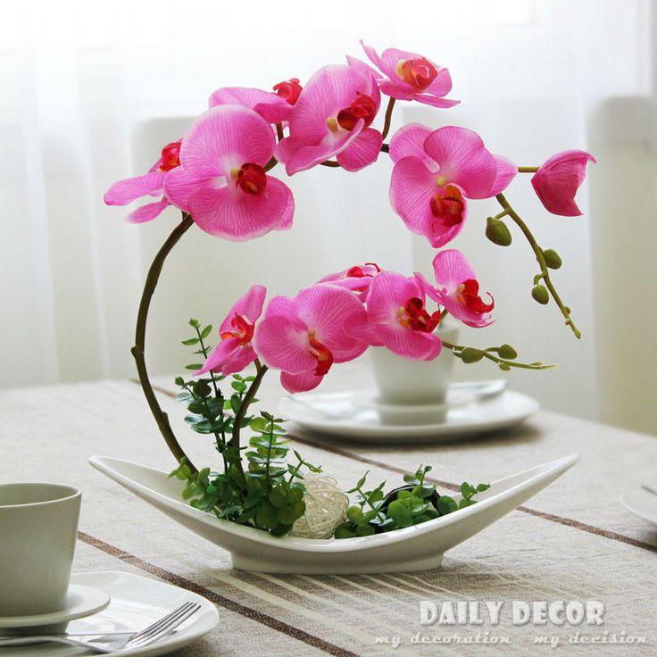 Новый! Ручной икебана искусственные цветы орхидеи в декоративные горшки композиции костюмы флорес artificiais arranjos / orquideas купить на AliExpress