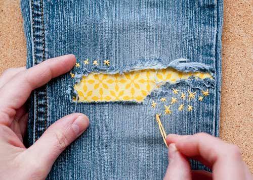 como remendar calça jeans de forma diferente