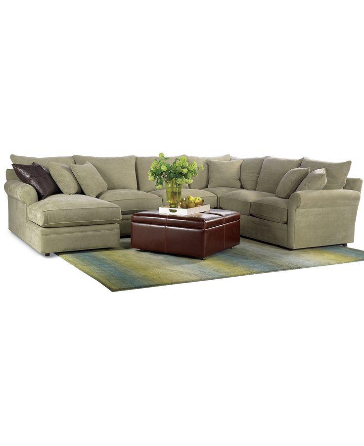Doss 4 piece fabric microfiber sectional 144quotw x 104quotd x for 6 piece microfiber sectional sofa