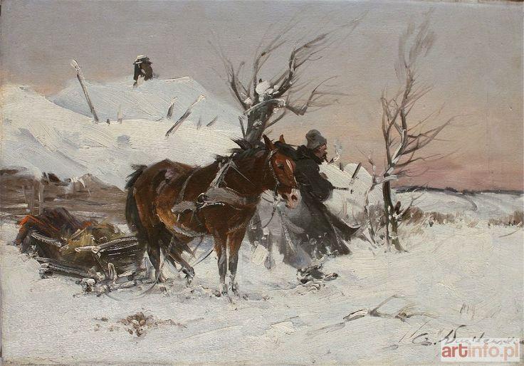 Czesław WASILEWSKI (Ignacy ZYGMUNTOWICZ) ● Scena zimowa z zaprzęgiem i woźnicą ● Aukcja ● Artinfo.pl