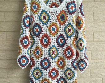 Boho Crochet Dress Hippie Fringe Long Vest by TinaCrochet2016