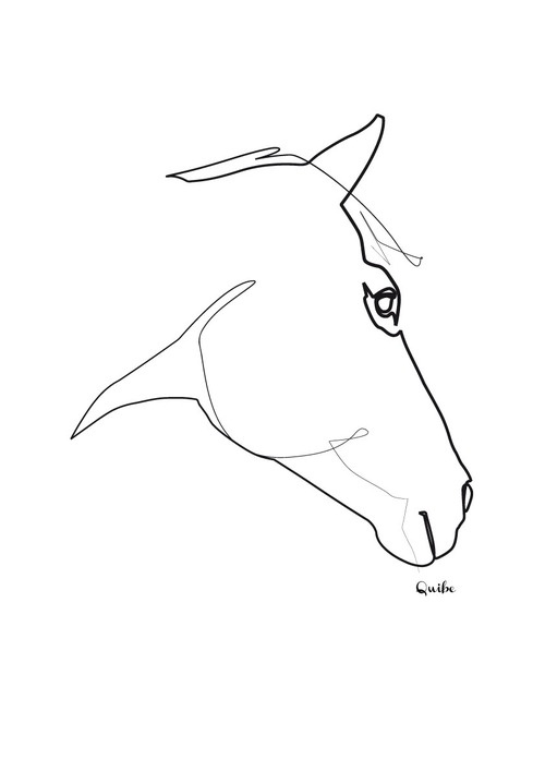 Single Line Artwork : Quibe one line drawing horse logos pinterest