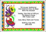 Find most unique 2016 Cinco de Mayo invitation designs featuring spicy Mexican food, sombreros, colorful drinks, all guaranteed to have your invited guest anticipating Mariachi bands and Piñatas at InvitationsByU.com
