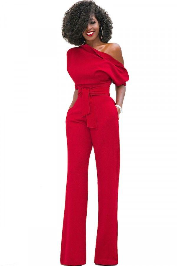 b576389743a One Shoulder Tie Waist Asymmetrical Chic Jumpsuit