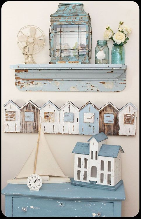 Nice collection of crafty seaside projects, from shelves to row of beach houses.